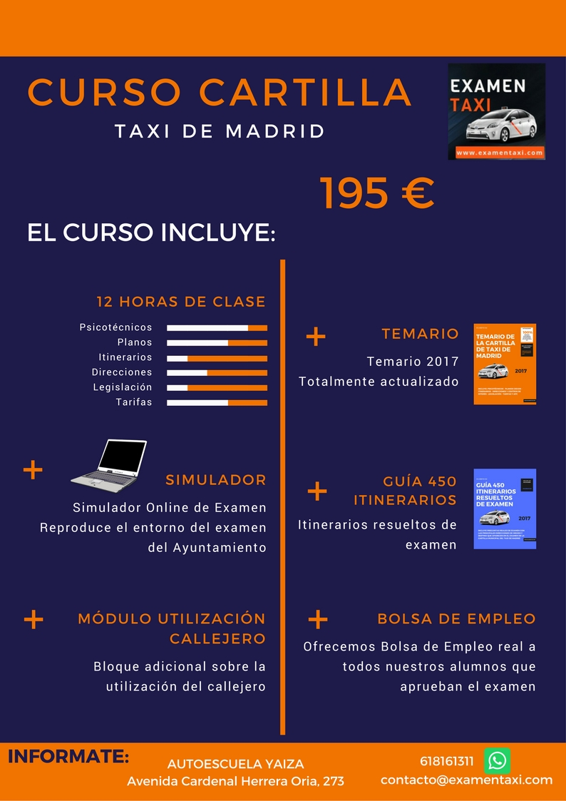 Cartel Curso Cartilla Taxi