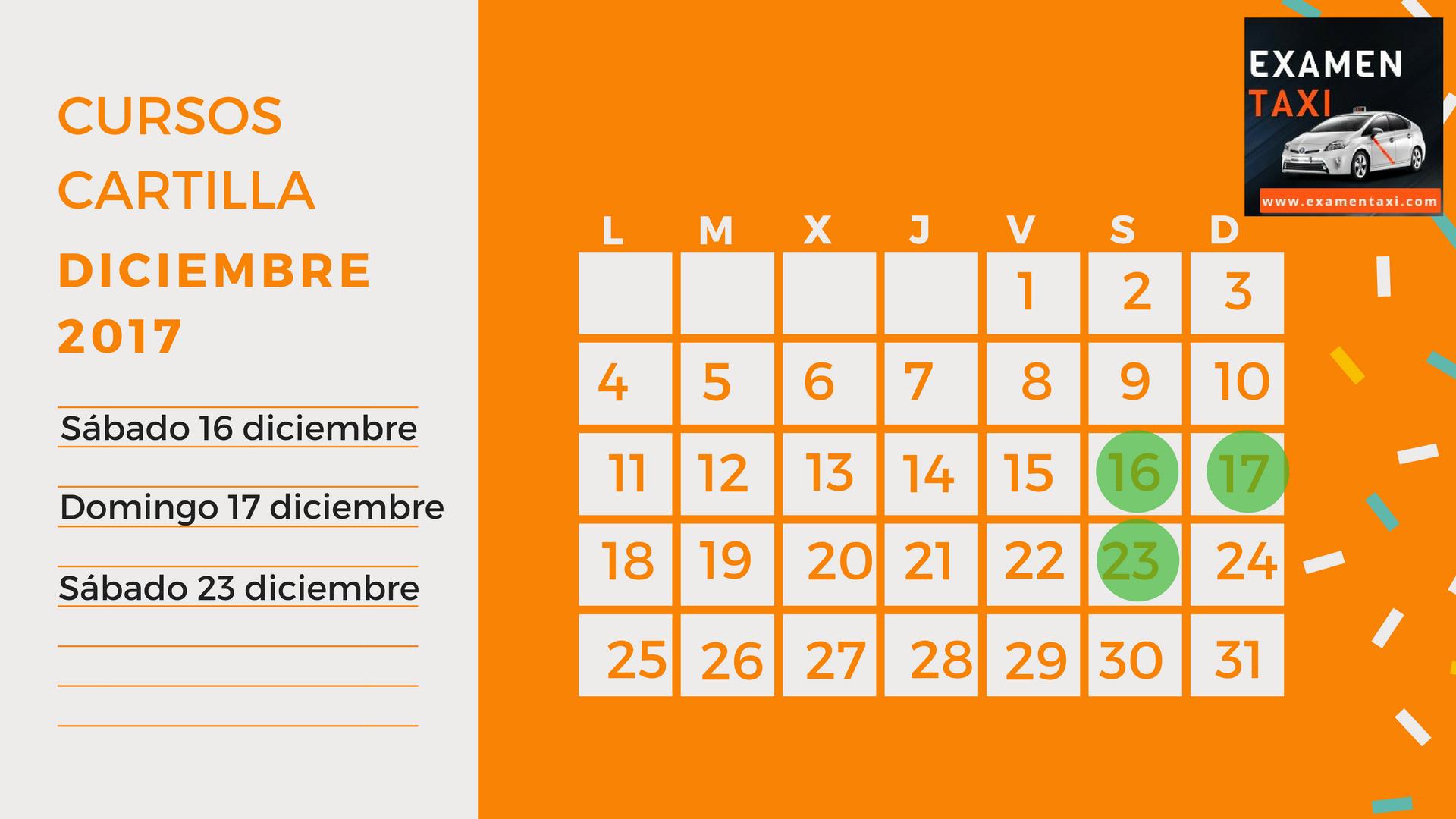 Calendario Cursos Cartilla Diciembre 2017