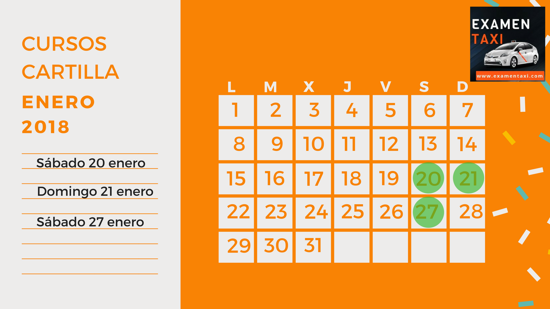 Calendario Curso Cartilla Enero 2018