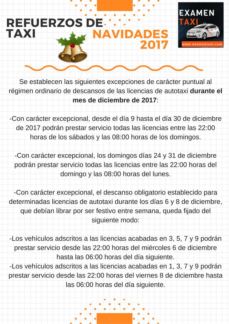 Infografía refuerzos de taxi navidades 2017