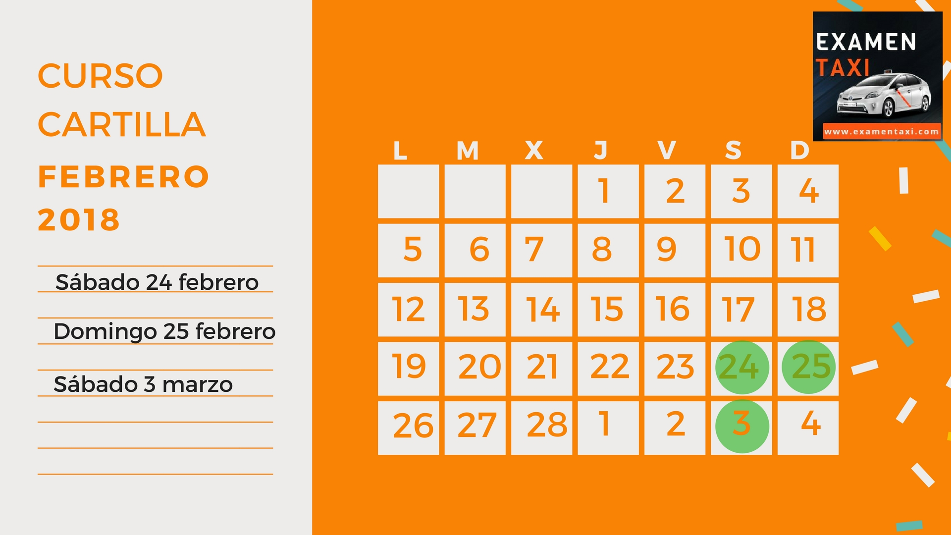 Calendario Curso Cartilla Febrero 2018