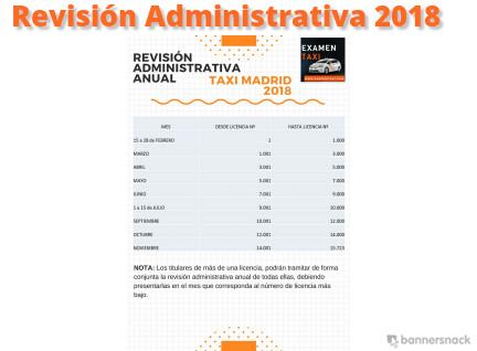 calendario revisión administrativa anual taxi 2018