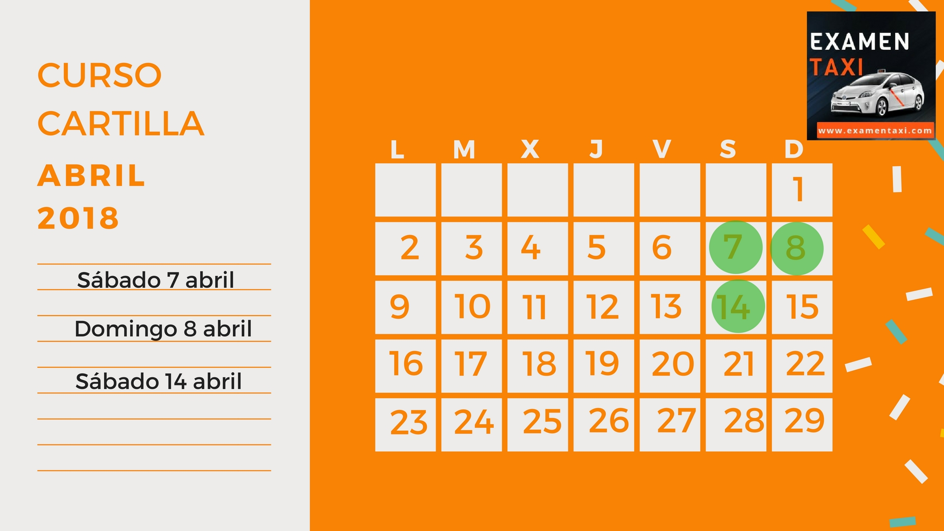 Calendario Curso Cartilla Abril 2018