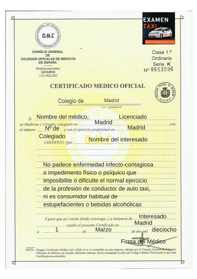 Certificado Médico Taxi