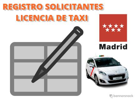 registro de solicitantes de licencia de taxi de madrid