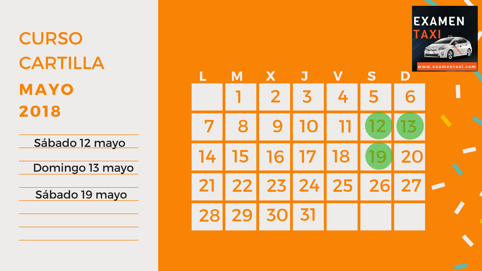 Calendario Curso Cartilla Mayo 2018