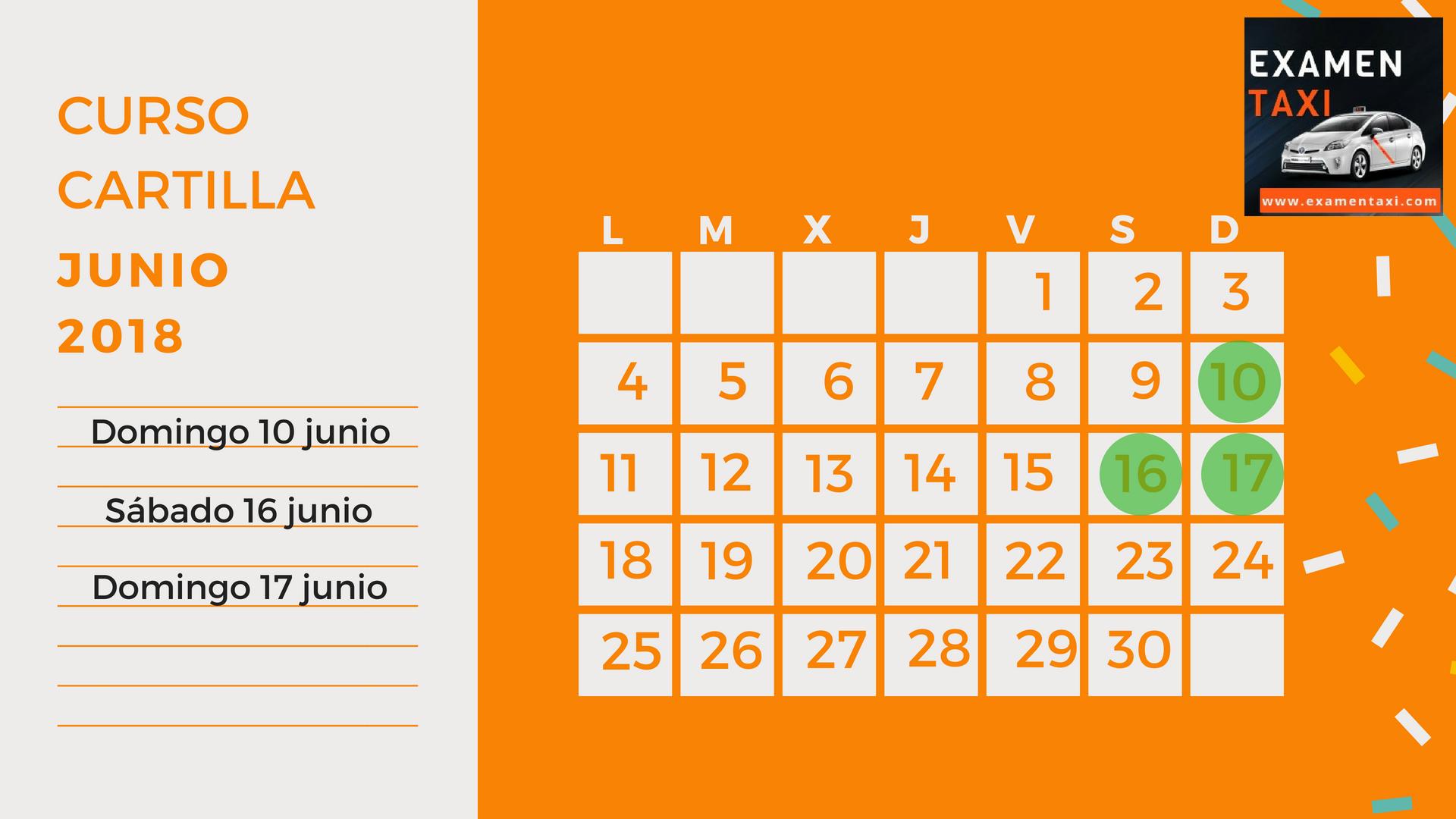 Calendario Curso Cartilla Junio 2018