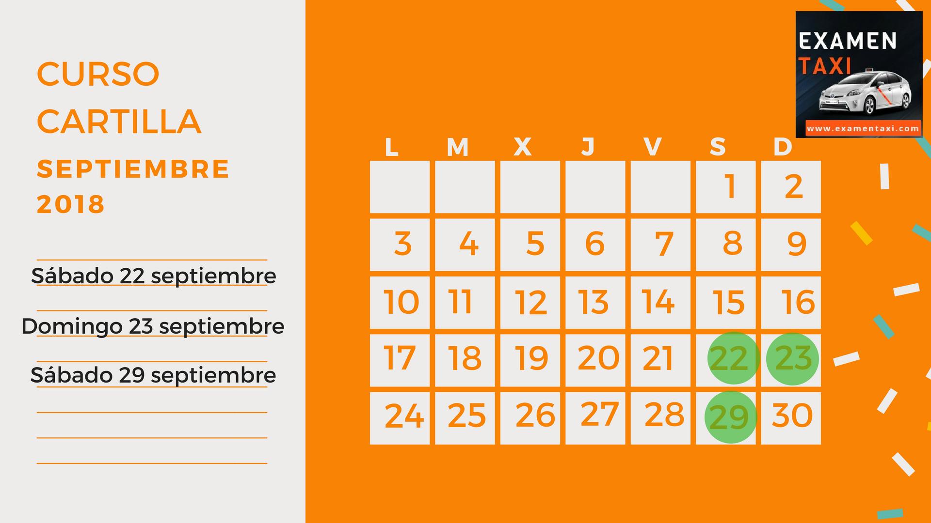 Calendario Curso Cartilla Septiembre 2018