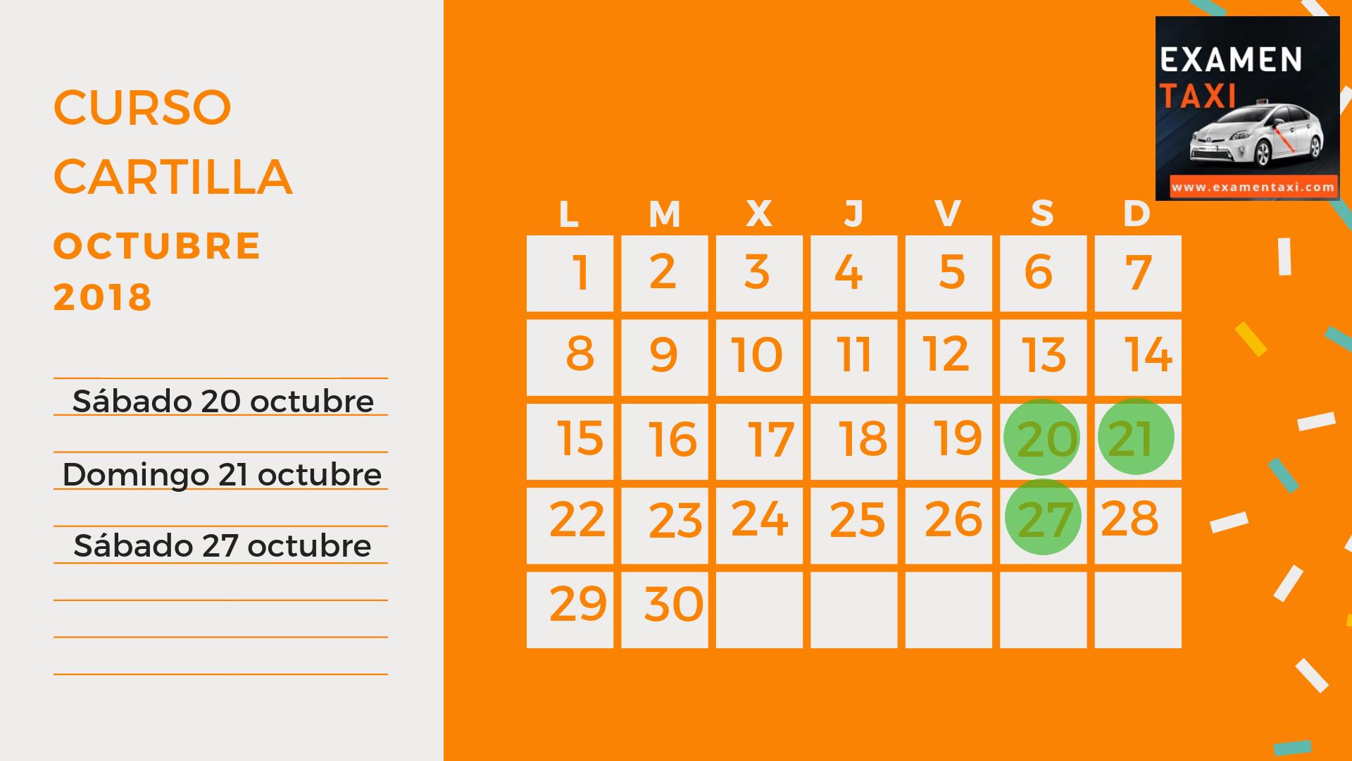 Calendario Curso Cartilla Octubre 2018