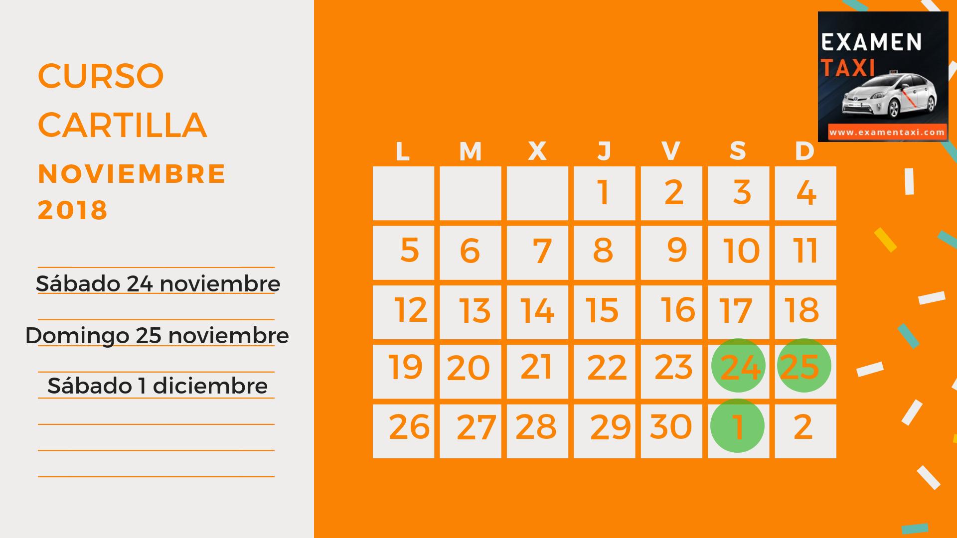 Calendario Curso Cartilla Noviembre 2018