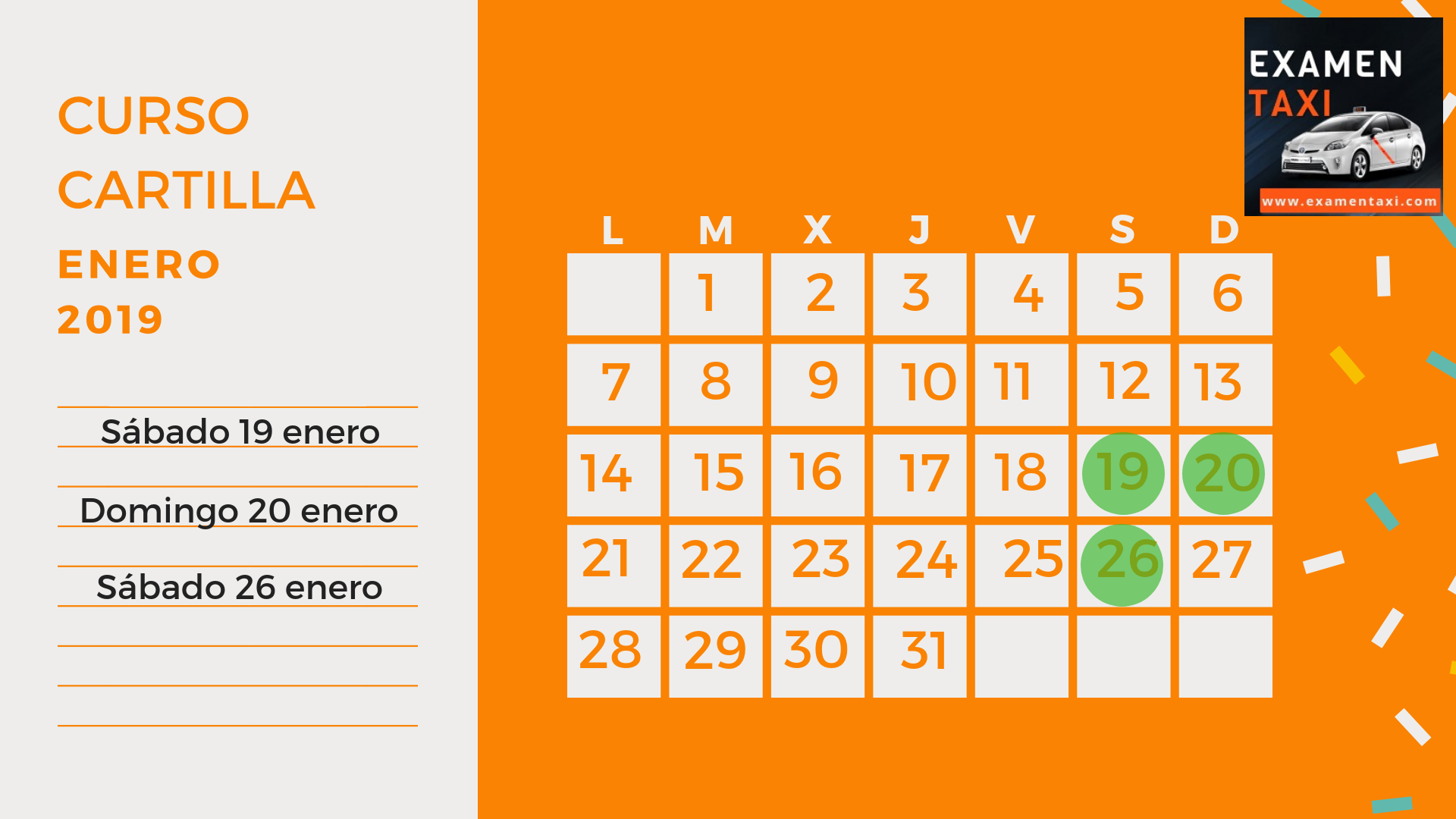 Calendario Curso Cartilla Enero 2019