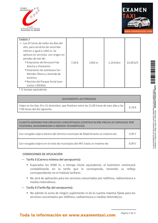 Modificación Tarifas Taxi 2019 2