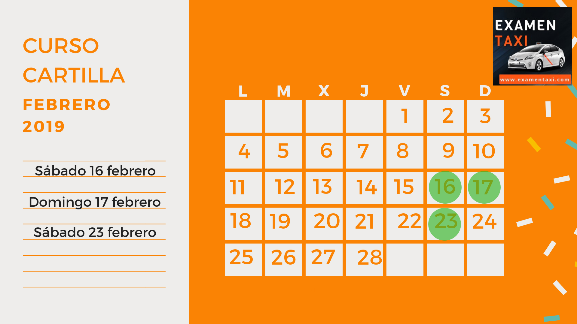 Calendario Curso Cartilla Febrero 2019