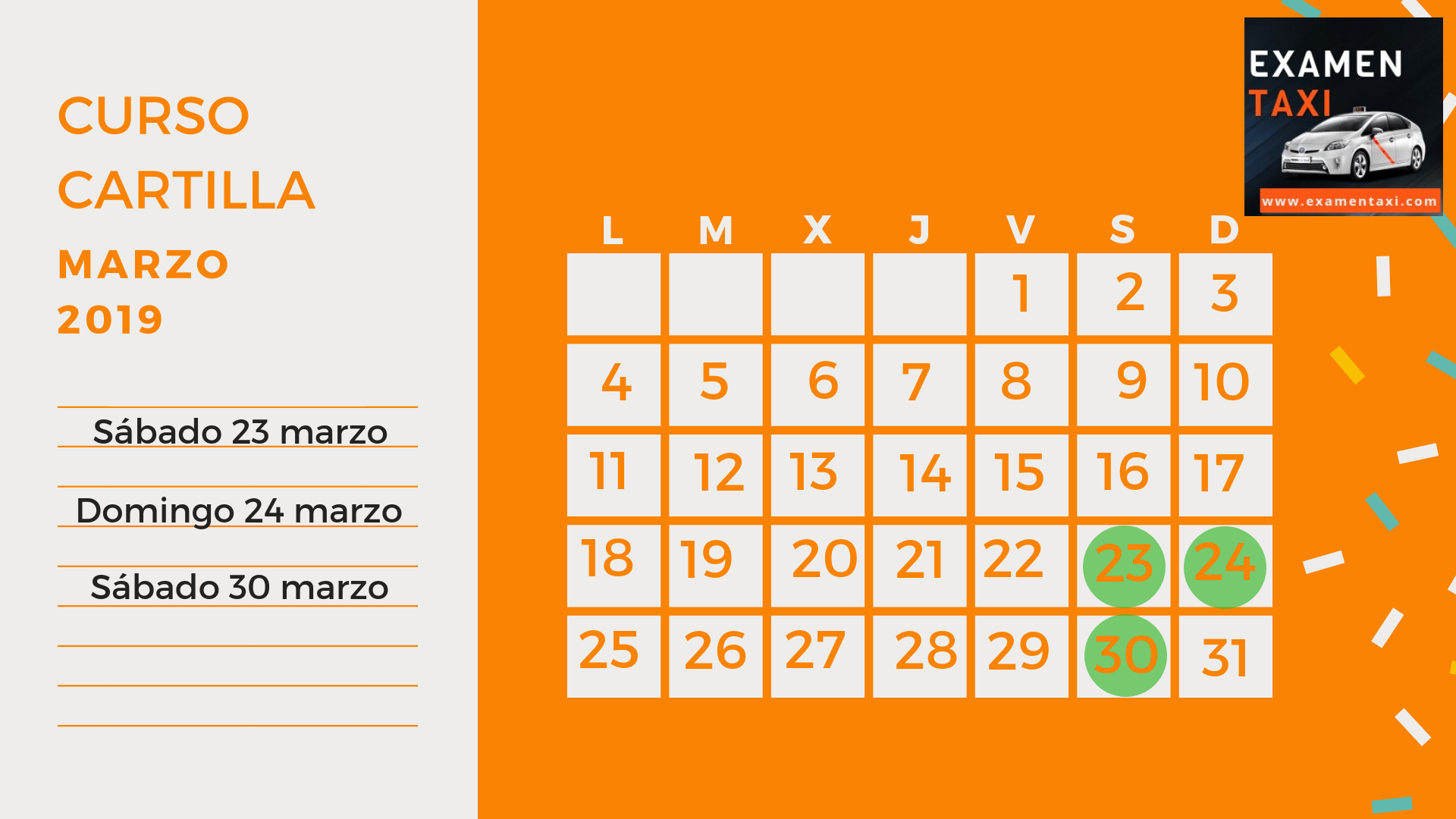 Calendario Curso Cartilla Marzo 2019