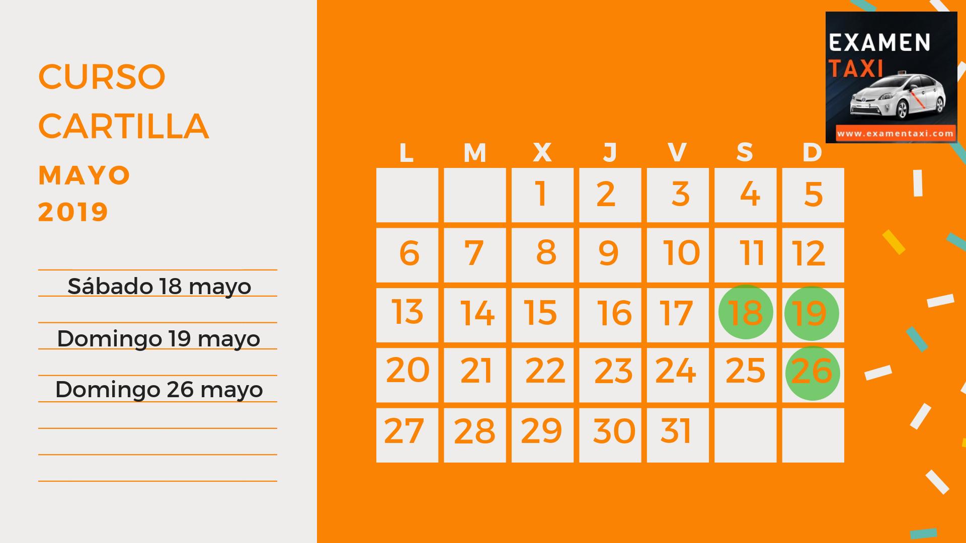 Calendario Curso Cartilla Mayo 2019