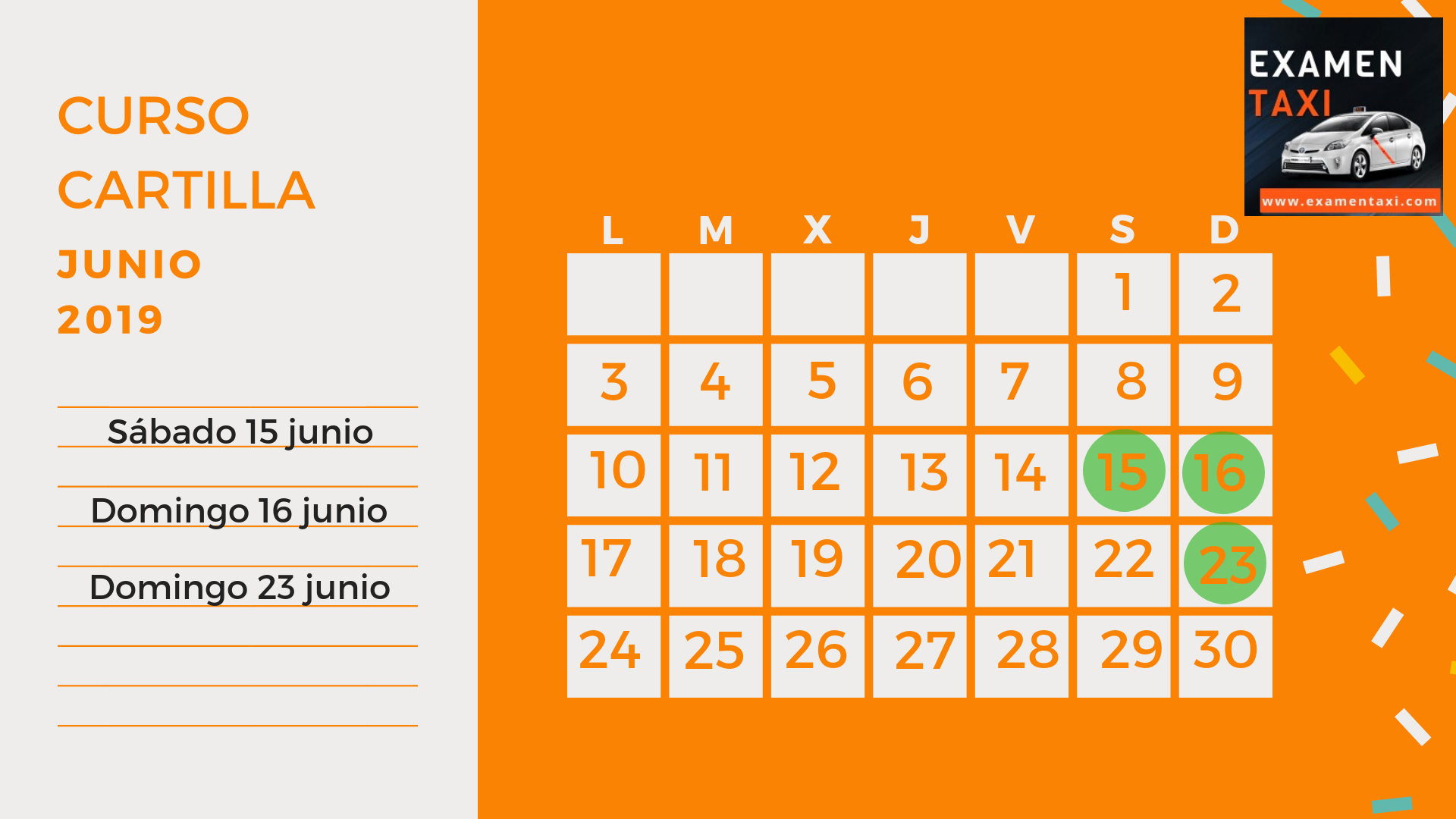 Calendario Curso Cartilla Junio 2019