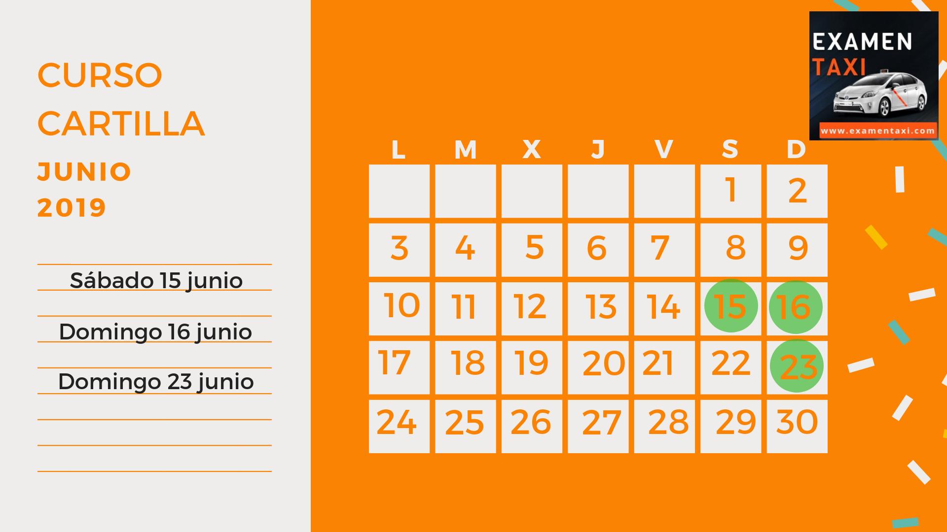 Calendario Curso Cartilla Junio 2019