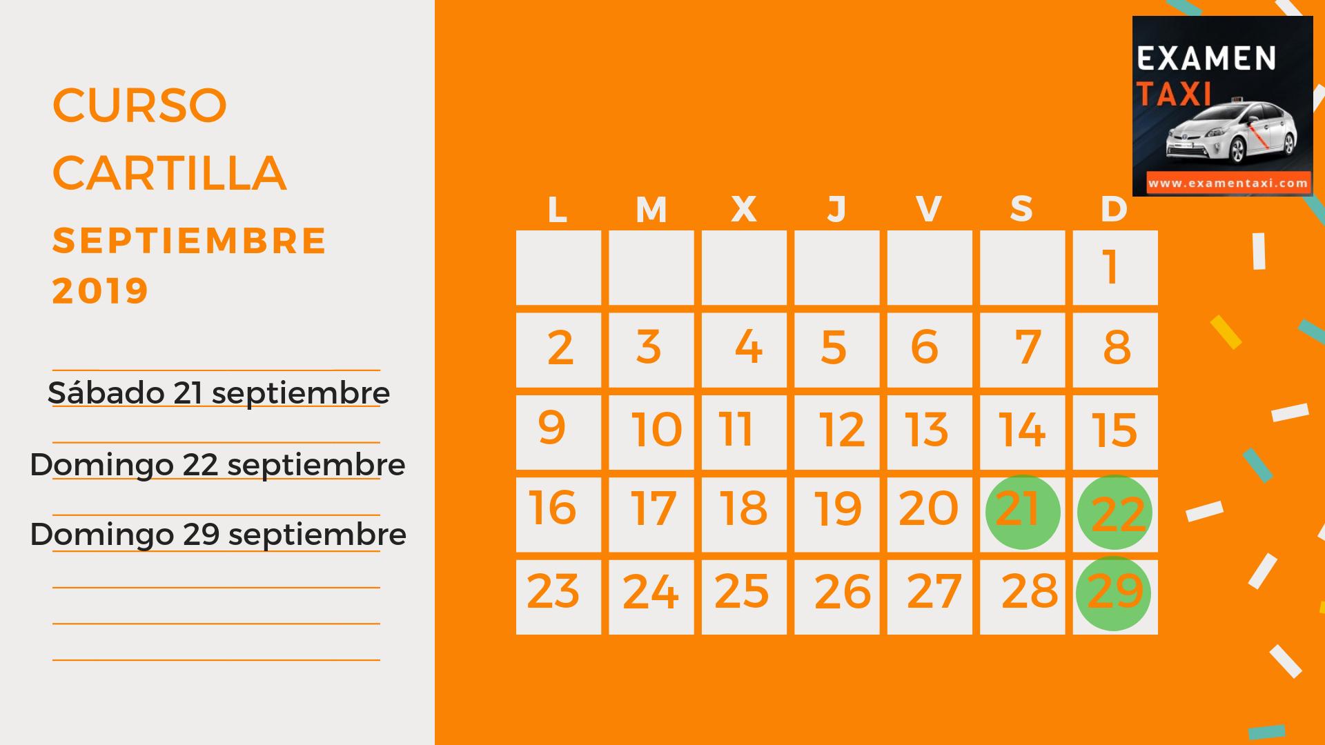 Calendario Curso Cartilla Septiembre 2019