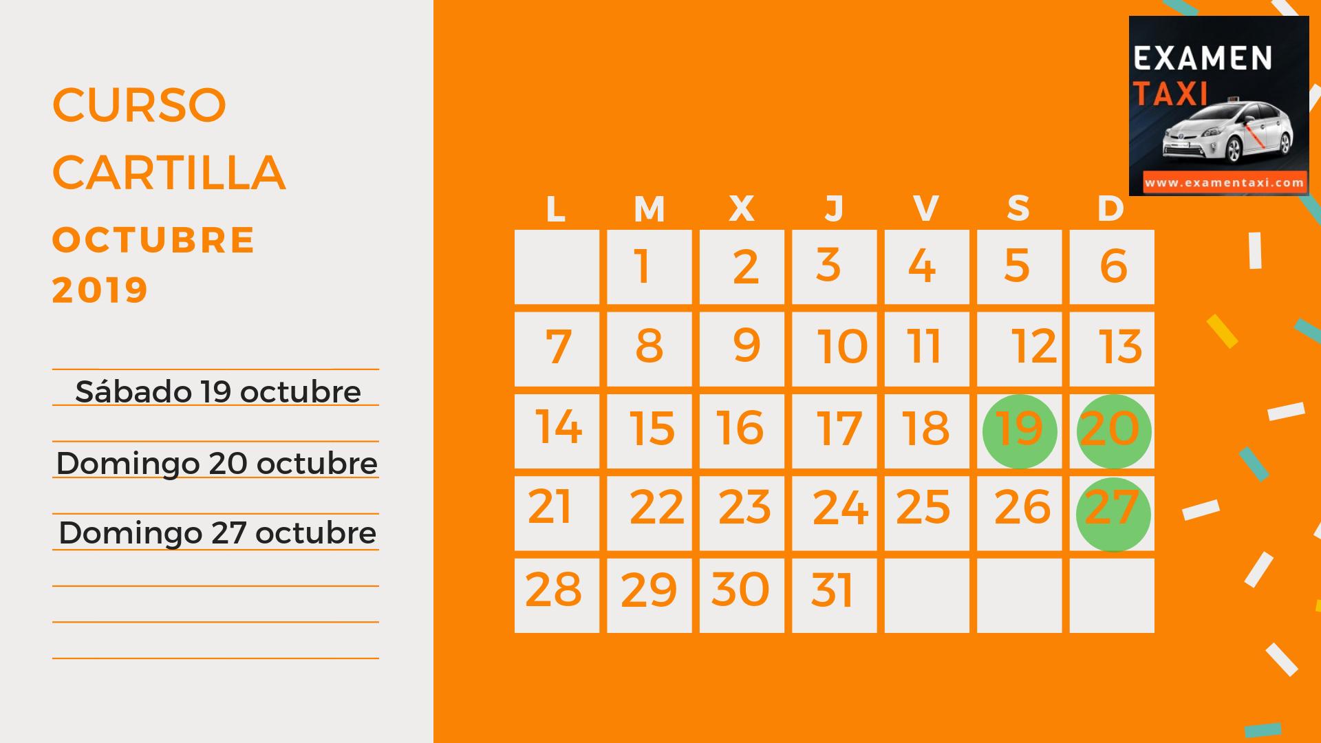 calendario curso cartilla taxi octubre 2019