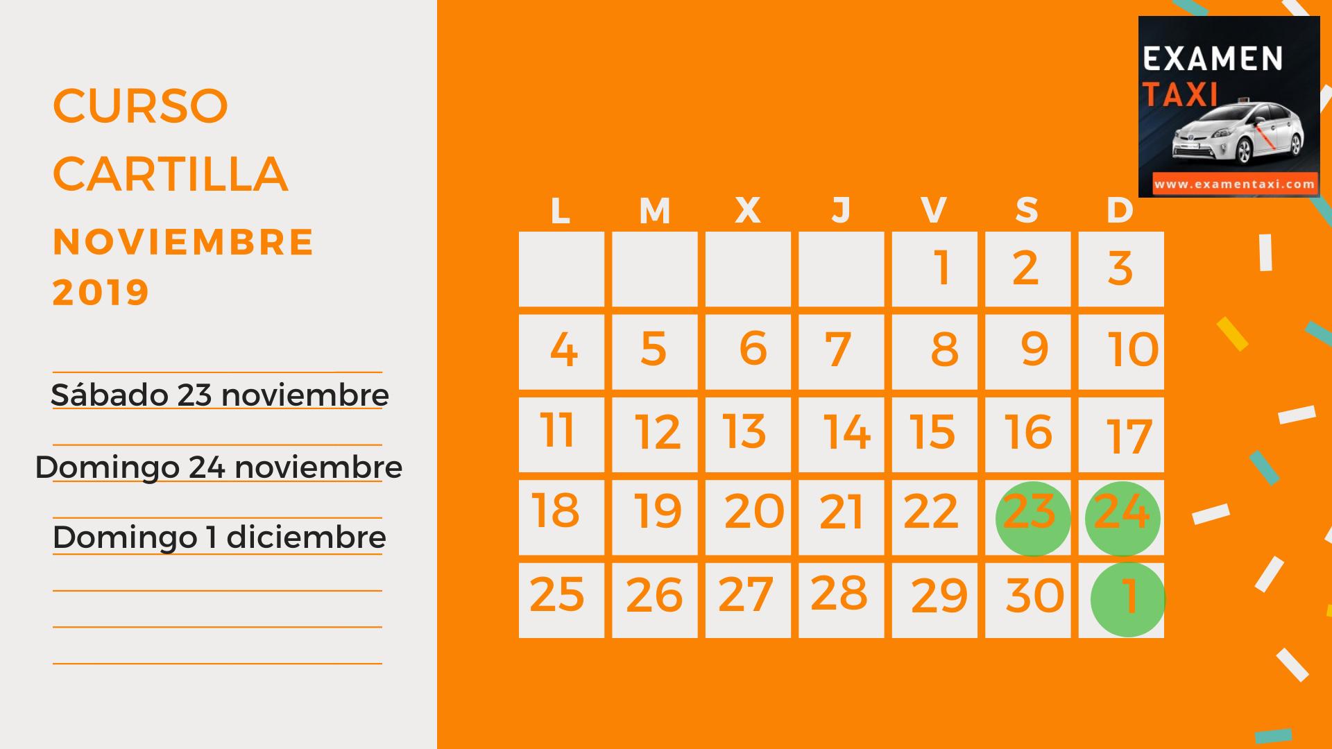 Calendario Curso Cartilla Taxi Noviembre 2019