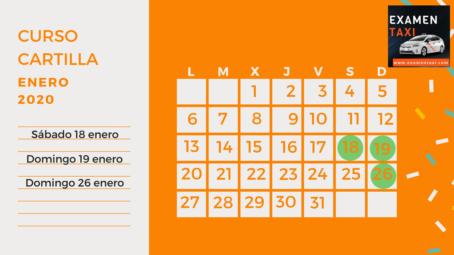 Calendario Curso Cartilla de Taxi Enero 2020