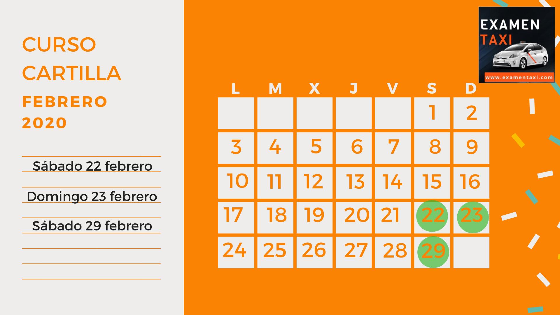 calendario curso cartilla taxi febrero 2020