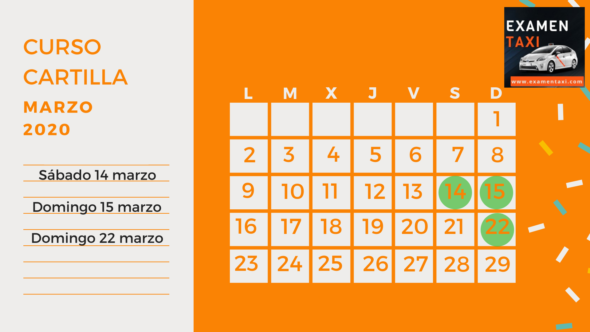 Calendario Curso Cartilla Taxi Marzo 2020