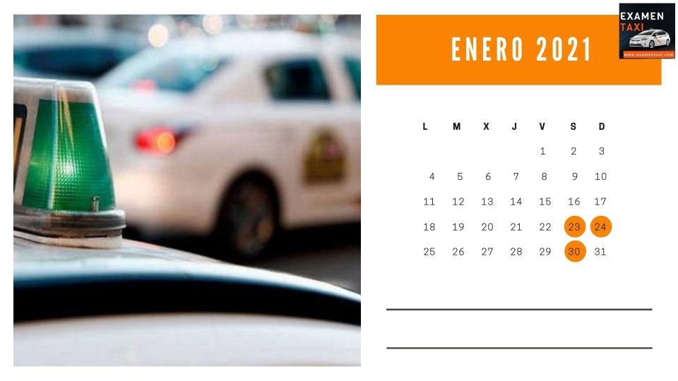 Calendario Curso Cartilla Taxi Enero 2021