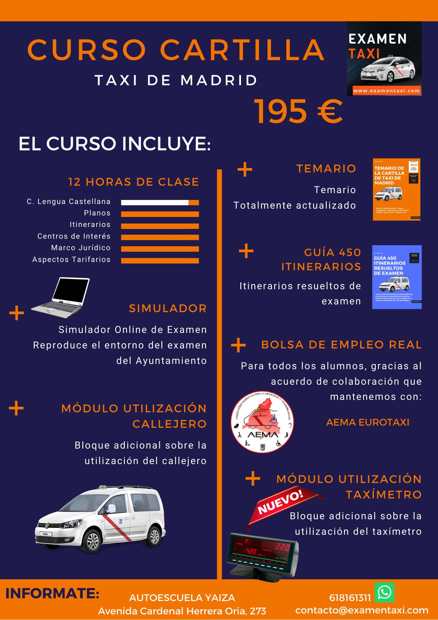 Banner Curso Cartilla de Taxi de Madrid