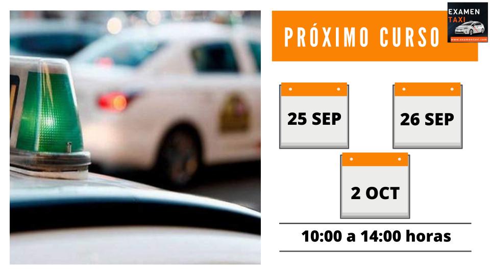 Calendario Curso Cartilla Taxi Septiembre 2021